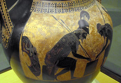 Exekias, Attic black figure amphora, detail with Achilles