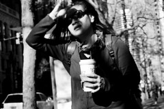 Stressed Woman Drinking Coffee (tadyscamera) Tags: sf sanfrancisco blackandwhite bw streetphotography 35mmfilm gsn yashica yashicagsn filmphotography francistady believeinfilm