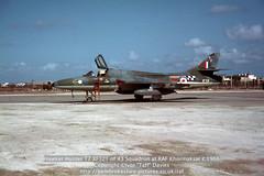 "Hawker Hunter T7 XF321 of 43 Squadron at RAF Khormaksar c.1966 (Ivor ""Taff"" Davies) Tags: aircraft aviation military jet 1966 1967 hunter yemen 1960s raf hawker airfield 1965 aden airbase scannedslide onflickr t7 royalairforce gulfofaden arabianpeninsula 43squadron hawkeraircraft strikewing rafkhormaksar voigtländervitoc xf321 fightergroundattack hawkeraircraftlimited"