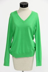 1016. Chic Green Cotton V Neck Sweater, Lilly Pulitzer