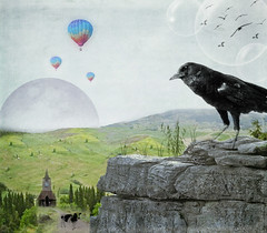 ~ blackbird ~ (Ar~Pic) Tags: photoshop flickr singing watching surreal manipulation textures creation ethereal imagination inspirational magical blackbird whimsical protecting soawesome lookingover totallytextures moonseries thankstorubyblossom thankstokimk againthankstorubyblossomforhersnipsandpremade
