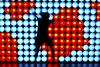 Disco Jump (CoolMcFlash) Tags: blue light red music woman rot silhouette wall female night canon reflections fun disco photography eos austria licht tirol österreich jump pattern fotografie nacht action wand fav20 pop nightlife blau musik frau tamron fav30 muster tyrol innsbruck nachtaufnahme nachtleben reflektionen spas springen lightwall umris fav10 nachtaufnahmen kontur 18270 60d b008 lichtwand twittertuesday