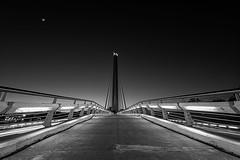 Puente del Alamillo... (protsalke) Tags: bridge sevilla architecture blackandwhite bw lights moon sunset monochrome city urban cityscape longexposure