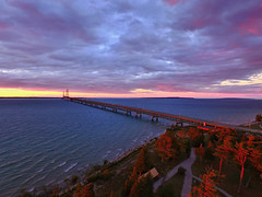 Mighty Mac at Sunset (08 21 2016) (PhotoDocGVSU) Tags: uav drone phantom3pro aerialphotgraphy mackinawcity northernmichigan michigan puremichigan sunset colors greatlakes