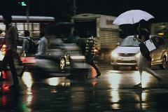 Jaywalking (georgerani532) Tags: streetphotography night jaywalking trafficjam rushhour cars streets signal lights slowshutterspeed blur colour mumbai india ranigeorgephotography