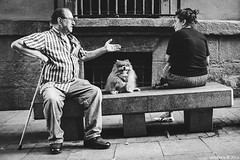 Charlas de banco... (mdafoto) Tags: fujifilm x20 fuji street streetphotography madrid bw bn