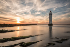 The build up (Paul-Farrell) Tags: newbrighton sunset lighthouse clouds longexposure movement wirral merseyside perchrock 10stop ndfilter canon 5dmkiii