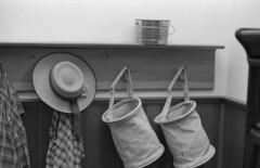 hanging (bergytone) Tags: analog film bw olympus om om2n zuiko ilford hp5 xtol schoolhouse 19th century historic dewitt