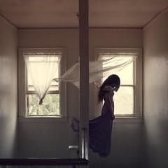 Defy laws (melissaraelynn) Tags: float floating girl long hair levitation creepy faceless indoors window white purple surreal whimsical