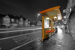 Bus stop (ArtGordon1) Tags: busstop peteboroughroad walthamstow london england uk night blackwhite blackandwhite davegordon davidgordon daveartgordon davidagordon daveagordon artgordon1 longexposure leabridgeroad selectivecolour