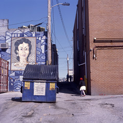(patrickjoust) Tags: greektown baltimore maryland mamiyac330s sekor80mmf28 kodakektachromee100g tlr twin lens reflex 120 6x6 medium format kodak chrome slide e6 color reversal expired discontinued film manual focus analog mechanical patrick joust patrickjoust md usa us united states north america estados unidos autaut greek mural kid costume red hat alley dumpster running independence parade