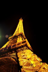 Golden Eiffel tower in Paris at night (Michael-F.) Tags: architecture architektur attraction sight sehenswrdigkeiten europe love city eiffelturm gold night frankreich france eiffeltower toureiffel paris