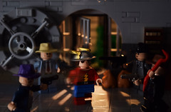 The Rival: Part 2 (Andrew Cookston) Tags: lego dc comics dccomics flash theflash jaygarrick therival bank keystone city robbery gangsters mob goldenage classic christo christo7108 moc photoshop custom minifig stilllife toy macro photography andrewcookston