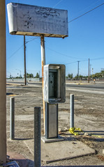 MOTEL DRIVE PHONE (akahawkeyefan) Tags: phone booth moteldrive fresno davemeyer sign desolate