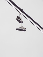 Shoes (chearn73) Tags: winnipeg manitoba canada shoes wire blackandwhite minimal