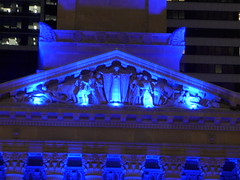 Sandstone frieze by Daphne Mayo lit with blue light. City Hall, Brisbane at night (tanetahi) Tags: nightphotography afterdark evening artificiallights brisbane cbd downtown citycentre daphnemayo frieze bluelight illuminations