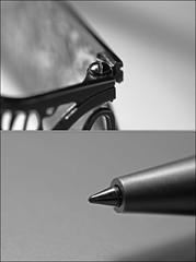 Wee Eye Glass Screw & Pen: No Crop (Sue90ca Summer is over?) Tags: bw macro pen canon screw 11 28 60mm nocrop 60d