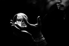 Danish magician. Mago danese. (MisterGiove) Tags: street light shadow blackandwhite bw man black reflection copenhagen dark denmark hands nikon strada mani uomo streetartist danish mago biancoenero magician mistery crystalball riflesso danimarca lightinthedark nikond90 sferadicristallo