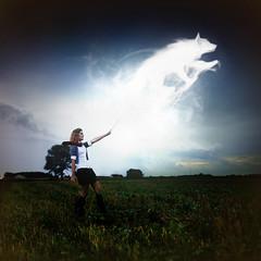 Expecto Patronum!! (Cameron Bushong) Tags: blue trees storm wet water girl grass rain clouds wolf wand harry potter hogwarts patronum