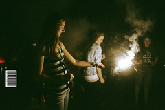 (Seth Ferreira) Tags: lighting girls light summer orange green girl lines yellow youth night outside outdoors fire warm glow bright fireworks stripes young sparklers barcode sparks glance