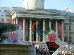 paralympics trafalgar sqaure (lucyadunn) Tags: london art fountain gallery artgallery historic olympic fountains olympics countdown iconic nationalartgallery london2012 trafalgarsqaure