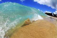 wave (patrickkitch) Tags: ocean blue mountain beach nature water canon hawaii sand paradise pacific oahu wave fisheye kauai honolulu tunnels hanalei