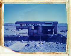 Newberry Springs, CA (moominsean) Tags: california blue abandoned route66 fuji desert trailer camper newberrysprings fp1 type108 eatveggies fotorama 81bfilter expired012000