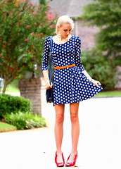 Spot On (Thedrawingmannequin) Tags: fashion vintage dress navy polkadots purse anchor heels redheels polkadotdress vintagepurse fashionblogger anchorbelt
