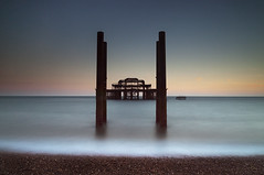 Seascape (Explored) (simon.anderson) Tags: longexposure sunset sea seascape beach sussex brighton dusk shoreline structure explore westpier eastsussex struts explored simonanderson nikon1685 nikond300s lee06ndgrad hitechprostopper