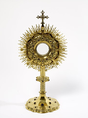 Gilded copper monstrance by John Hardman & Co for St. Scholastica's Priory, Atherstone, 1860-80