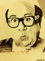 Danny DeVito sighting while trying to hail a taxi ★ (VivaSpyGirl) Tags: art window sign illustration outdoors sketch gallery outdoor drawing good cab taxi luck danny displayed devito hailing outdoorartgallery 091512