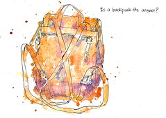 Is a backpack the answer? (artbybernadette) Tags: travel sketchkit