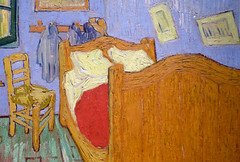 Van Gogh, The Bedroom, detail with bed