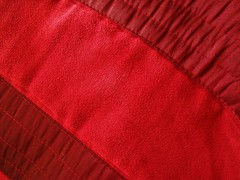 Textured Red (Cathlon) Tags: red texture fabric material 365 cushion suede gathered ruching daysincolour