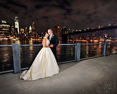 Noely and Trey (timpweb) Tags: new york city nyc bridge water beautiful brooklyn clouds river lights groom bride nikon dress east promenade tux speedlight strobist d700 lp160