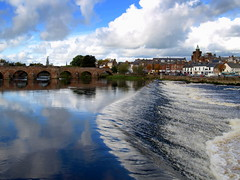 Dumfries and the River Nith (5) -VIEW LARGE ON BLACK (Tony Worrall Foto) Tags: uk bridge blue sky reflection wet water beauty clouds river season landscape scotland nice border north scenic visit scene british serene split riverbank scotish scots dumfries nith queenofthesouth rivernith doonhamers scerary 2012tonyworrall