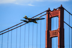 Blue Angel of the Golden Gate Bridge (AnotherSaru - Off and on for a few weeks) Tags: sf sanfrancisco flying flight jet goldengatebridge bayarea blueangels usnavy fleetweek 2012 fa18hornet nikond600 blueangel6 tamron70300mmlens