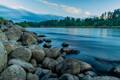 By the river (fredrik.gattan) Tags: trees sky seascape water clouds forest river landscape flow rocks long exposure sweden dallven riverscape lvkarleby