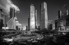 Shanghai in the Limelight (Rob-Shanghai) Tags: sunshine lujiazui china shanghai cityscape leica m240 cv12mm wide mono cbd walkway