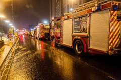 Fire Engines line up to entrance to Queensway Tunnel