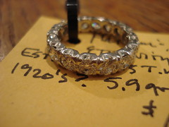 "SOLID PLATINUM AND QUALITY DIAMONDS ETERNITY BAND, 1920'S. • <a style=""font-size:0.8em;"" href=""http://www.flickr.com/photos/51721355@N02/28651338543/"" target=""_blank"">View on Flickr</a>"