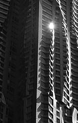 But soft, what light through yonder window breaks (pjpink) Tags: architecture frankgehry gehry skyscraper building undulating manhattan nyc newyork newyorkcity ny urban city june 2016 summer pjpink sunspot blackandwhite bw monochrome