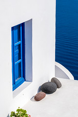 "Blue Window (""louisheublein"") Tags: island blue window blau fester greece griechenland santorin santorini ia oia stones steine weis white house haus mehr city nature landscape"