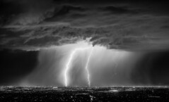 Light Led Through the Darkness (NicLeister) Tags: arizona tucson lightning bw night nightscape city cityscape monsoon thunderstorm sony alpha a65 desert weather bolt strike landscape clouds rain storm