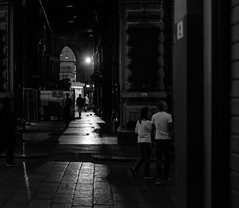 Bologna, Italy (patrickkuhl) Tags: bologna italy europe street streetphotography blackwhite blackandwhite monochrome night dark shadows people fuji fujifilm xe2 35mm