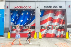 Ladder CO. 10 (bardo333) Tags: fire department fireman firemen flag usa unitedstates paint streetart gate smile girl photographer sunglasses reflections nyfd nypd
