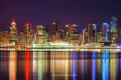 VanCity Bliss (TIA International Photography) Tags: city blue light red summer canada west color colour reflection building water skyline architecture night vancouver skyscraper port tia real evening bay design coast harbor living twilight downtown cityscape bc estate view place purple harbour district centre violet august landmark center columbia lookout shangrila condo convention western vista inlet metropolis british summertime cbd burrard shaw province condominium tosin arasi tiascapes tiainternationalphotography