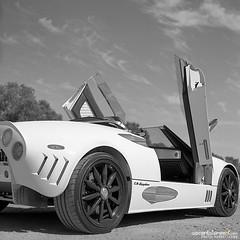 Spyker C8 Spyder (eych-you-bee-ee-ahr-tee) Tags: summer blackandwhite cars 120 6x6 tlr film analog mediumformat squareformat rodinal 2012 twinlensreflex orangefilter tessar minoltaautocord selfdev fujifilmneopan100acros blazinal epsonv600 rokkor13575mm