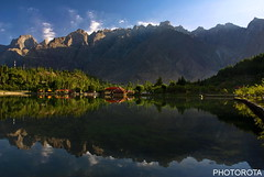 MORNING IN SHANGRILLA (PHOTOROTA) Tags: pakistan light mountain lake reflection nature colors landscape nikon flickr soe abid skardu photorota