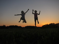 High in the sky {251/366} (Liz.Photography) Tags: trees girls sunset two people orange spectacular jumping hands toes pretty air silhoutte